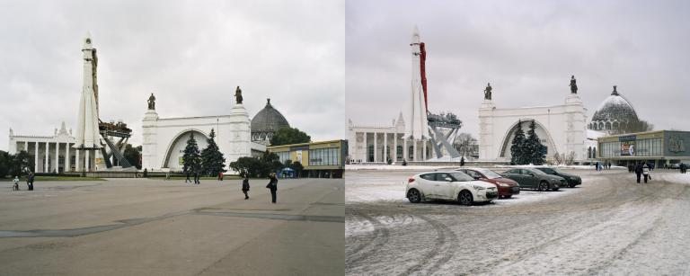 """Ives Maes has re-photographed archival images as well as his own pictures, taken in 2009 and 2013, from the """"All Union Agricultural Exhibition"""". These former images are juxtaposed with new photographs taken during the build-up of the Moscow Biennial."""